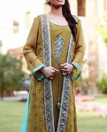Olive Green Crinkle Chiffon Suit- Pakistani Party Wear Dress