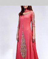 Carrot Pink Crinkle Chiffon Suit- Pakistani Formal Designer Dress