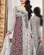 Grey/Mauve Crinkle Chiffon Suit- Pakistani Formal Designer Dress