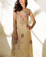 Ivory Crinkle Chiffon Suit- Pakistani Party Wear Dress