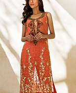 Island Orange Crinkle Chiffon Suit- Pakistani Formal Designer Dress