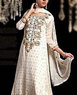 Off-white Jamawar Chiffon Suit- Pakistani Formal Designer Dress