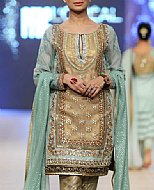 Beige/Turquoise Crinkle Chiffon Suit- Pakistani Party Wear Dress