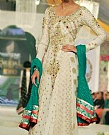 Off-white Chiffon Jamawar Suit- Pakistani Party Wear Dress