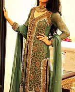 Green Crinkle Chiffon Suit- Pakistani Formal Designer Dress