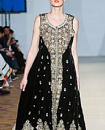 Black Crinkle Chiffon Suit- Pakistani Formal Designer Dress