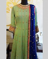 Green/Blue Crinkle Chiffon Suit- Pakistani Party Wear Dress