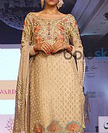 Light Golden Crinkle Chiffon Suit- Pakistani Formal Designer Dress