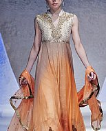 Off-white/Orange Crinkle Chiffon Suit- Pakistani Formal Designer Dress