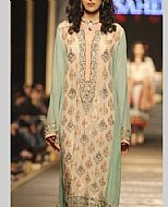 Ivory/Sea Green Crinkle Chiffon Suit- Pakistani Formal Designer Dress