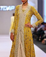 Mustard Crinkle Chiffon Suit- Pakistani Formal Designer Dress