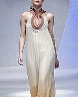 Off-white/Beige Crinkle Chiffon Suit- Pakistani Party Wear Dress
