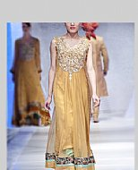 Mustard Net Suit- Pakistani Formal Designer Dress