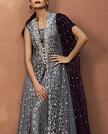 Grey Crinkle Chiffon Suit- Pakistani Formal Designer Dress
