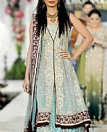 Silver/Turquoise Chiffon Suit- Pakistani Party Wear Dress