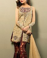 Beige/Maroon Chiffon Suit- Pakistani Party Wear Dress