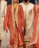 Rust Crinkle Chiffon Suit- Pakistani Formal Designer Dress