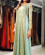 Light Turquoise Chiffon Suit- Pakistani Formal Designer Dress