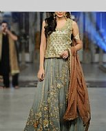 Green/Grey Chiffon Suit- Pakistani Formal Designer Dress