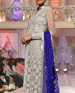 Grey/Blue Chiffon Suit- Pakistani Formal Designer Dress
