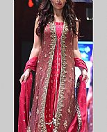 Carrot Pink Chiffon Suit- Pakistani Party Wear Dress