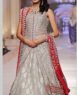 Grey/Red Chiffon Suit- Pakistani Party Wear Dress