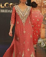 Coral/Golden Chiffon Suit- Pakistani Party Wear Dress