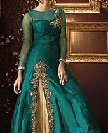 Teal/Golden Chiffon Suit- Pakistani Party Wear Dress