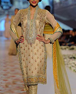 Golden Chiffon Suit- Pakistani Party Wear Dress
