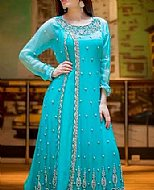 Turquoise Chiffon Suit- Pakistani Formal Designer Dress