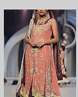Peach/Indigo Chiffon Suit- Pakistani Party Wear Dress