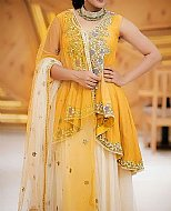 Yellow/Off-white Chiffon Suit- Pakistani Formal Designer Dress