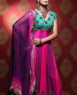 Pink/Indigo Chiffon Suit- Pakistani Formal Designer Dress