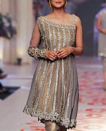 Bronze/Silver Chiffon Suit- Pakistani Formal Designer Dress