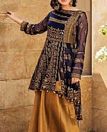 Blue/Golden Chiffon Suit- Pakistani Formal Designer Dress