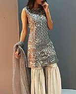 Grey/Off-white Chiffon Suit- Pakistani Party Wear Dress