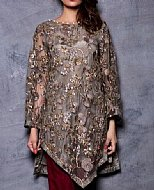 Grey/Maroon Chiffon Suit- Pakistani Party Wear Dress