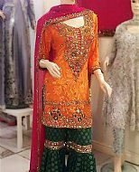 Orange/Green Chiffon Suit- Pakistani Formal Designer Dress