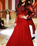 Red Crinkle Chiffon Suit- Pakistani Formal Designer Dress