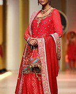 Red Crinkle Chiffon Suit- Pakistani Wedding Dress