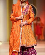 Orange Silk Suit- Pakistani Formal Designer Dress