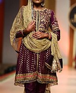 Plum Jamawar Chiffon Suit- Pakistani Formal Designer Dress