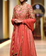 Coral Crinkle Chiffon Suit- Pakistani Formal Designer Dress