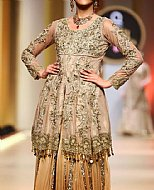 Ivory/Beige Crinkle Chiffon Suit- Pakistani Wedding Dress