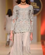 Grey/Turquoise Crinkle Chiffon Suit- Pakistani Party Wear Dress