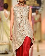 Golden/Red Silk Suit- Pakistani Formal Designer Dress