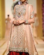 Peach/Red Crinkle Chiffon Suit- Pakistani Formal Designer Dress