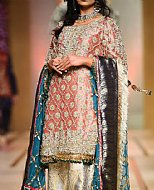 Peach/Golden Crinkle Chiffon Suit- Pakistani Party Wear Dress
