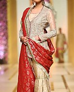 Golden/Red Crinkle Chiffon Suit- Pakistani Party Wear Dress