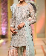 Grey/Peach Crinkle Chiffon Suit- Pakistani Party Wear Dress